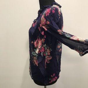 leifsdottir Tops - Bhldn Leifsdottir Purple Ruffled Floral Blouse